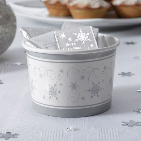 Shimmering Snowflake Ice Cream / Treat Tubs (8)